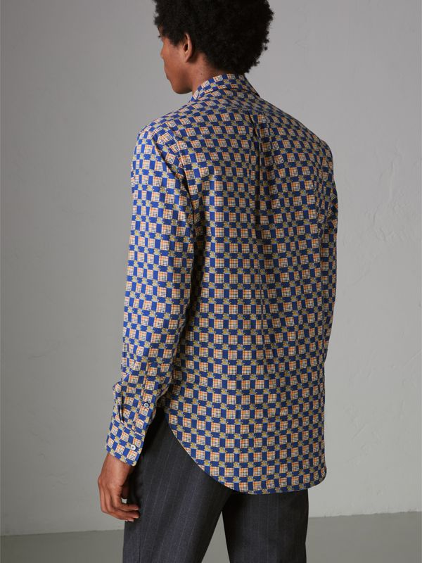 Tiled Archive Print Cotton Shirt in Navy - Men | Burberry - cell image 2