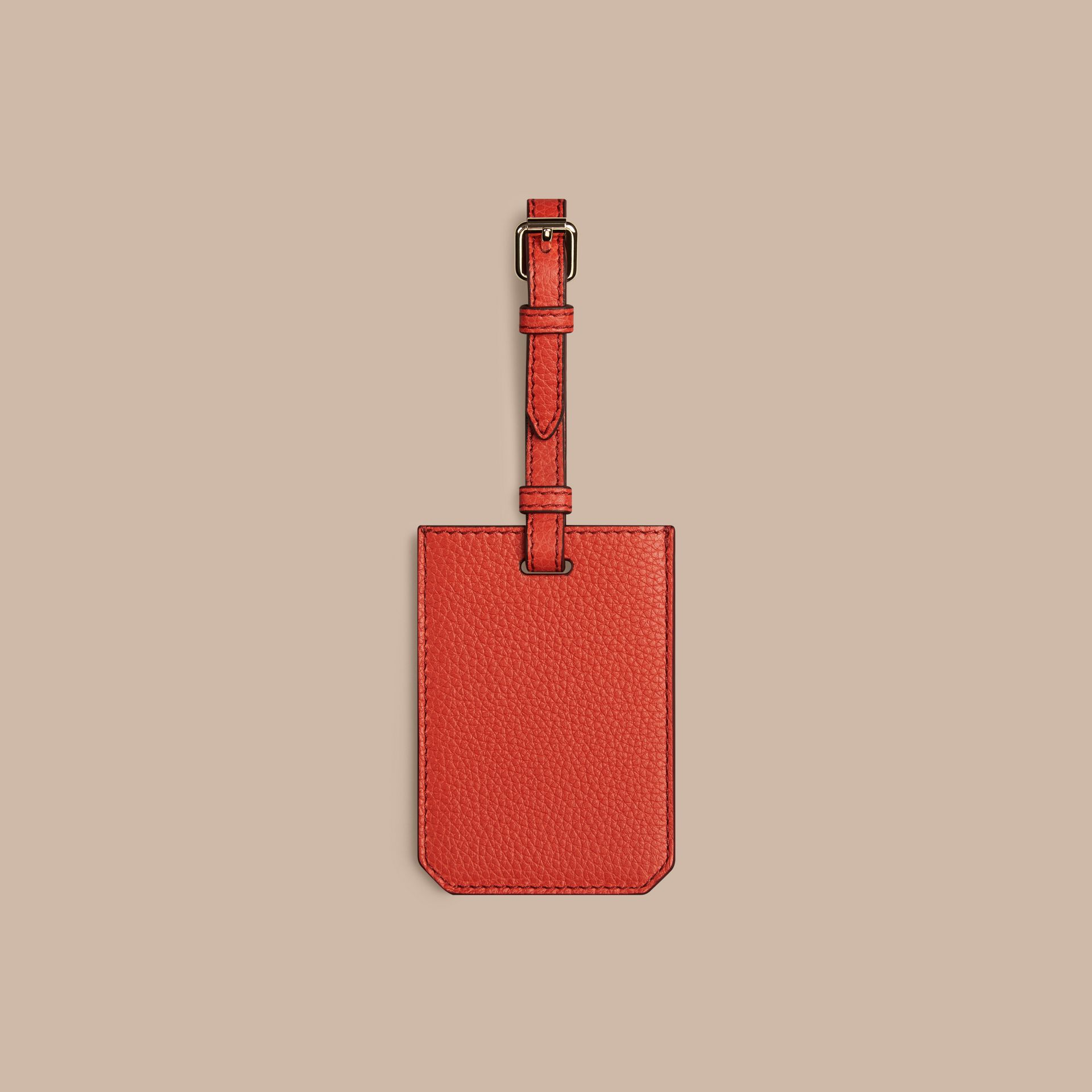 Grainy Leather Luggage Tag in Orange Red - gallery image 2