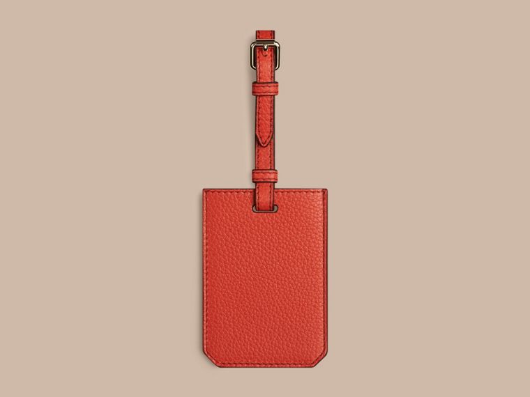 Grainy Leather Luggage Tag in Orange Red | Burberry Singapore - cell image 1