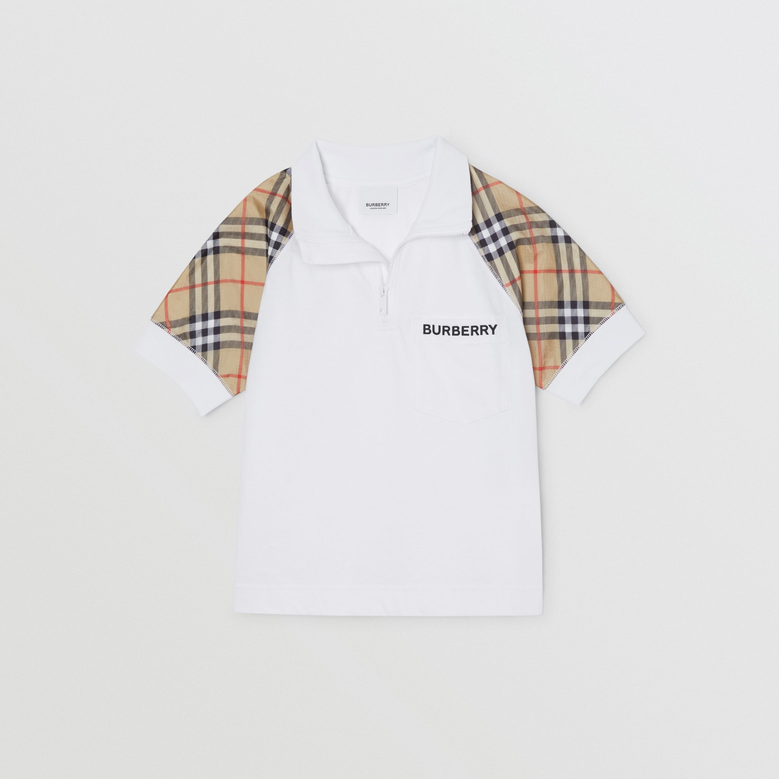 Check Detail Cotton Zip-front Polo Shirt in White | Burberry - 4