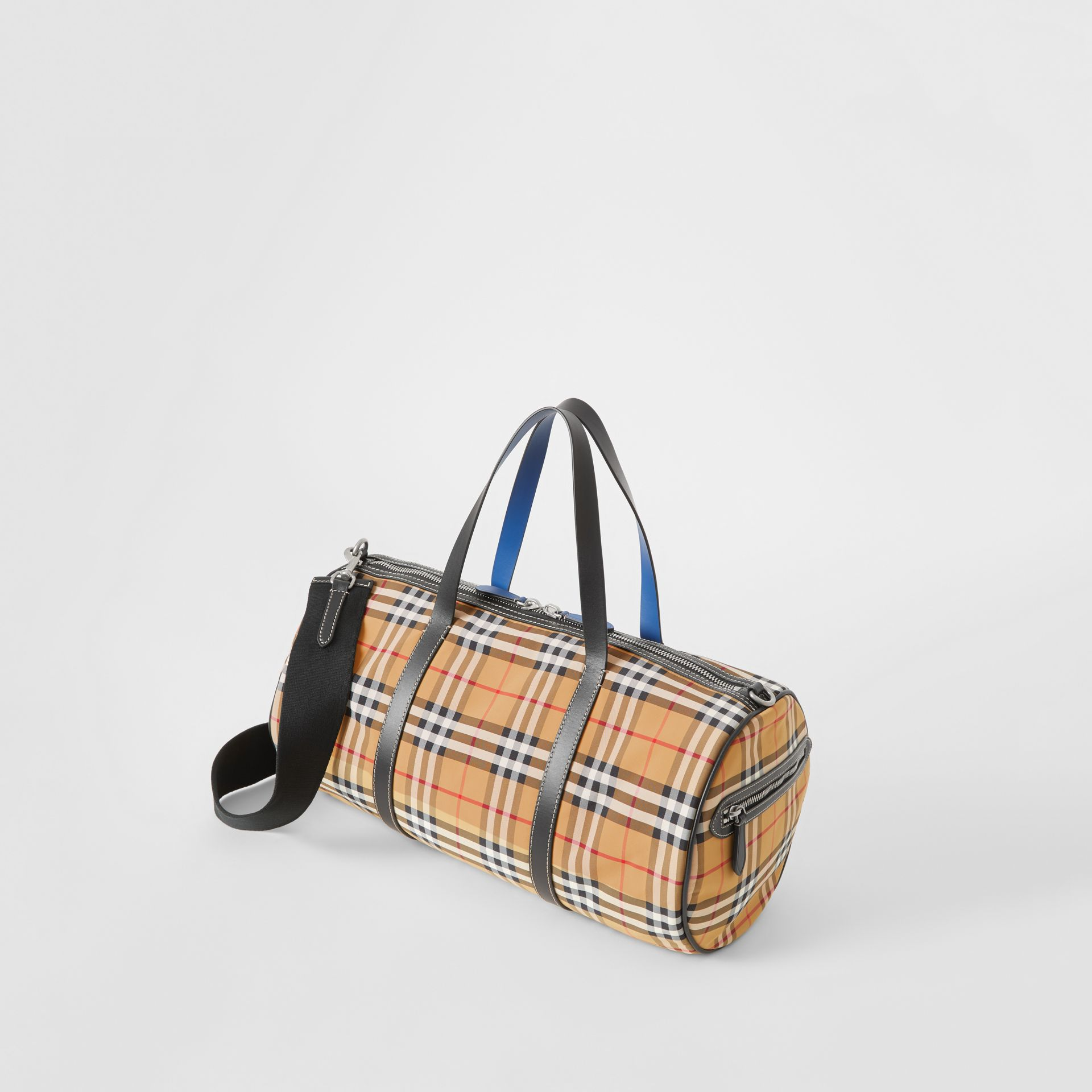 Medium Vintage Check and Leather Barrel Bag in Antique Yellow - Men | Burberry Australia - gallery image 3