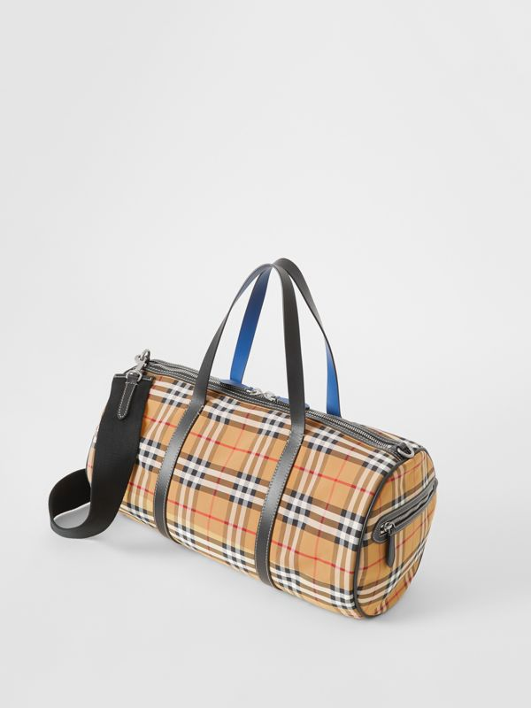 Medium Vintage Check and Leather Barrel Bag in Antique Yellow - Men | Burberry Australia - cell image 3