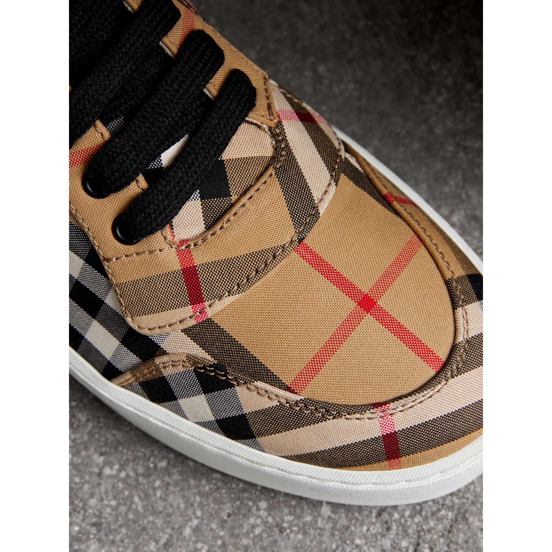 Vintage Check Cotton High-top Sneakers in Antique Yellow - Women | Burberry Hong Kong - gallery image 1