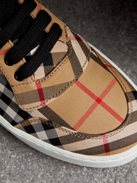 Vintage Check Cotton High-top Sneakers in Antique Yellow - Women | Burberry - cell image 1