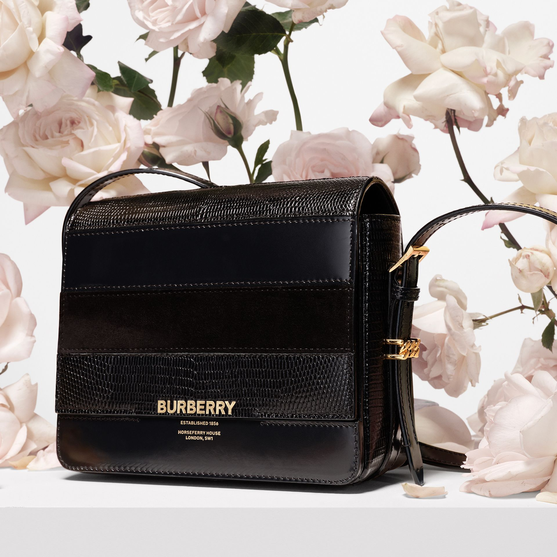 Small Panelled Deerskin and Suede Grace Bag in Black - Women | Burberry - gallery image 1