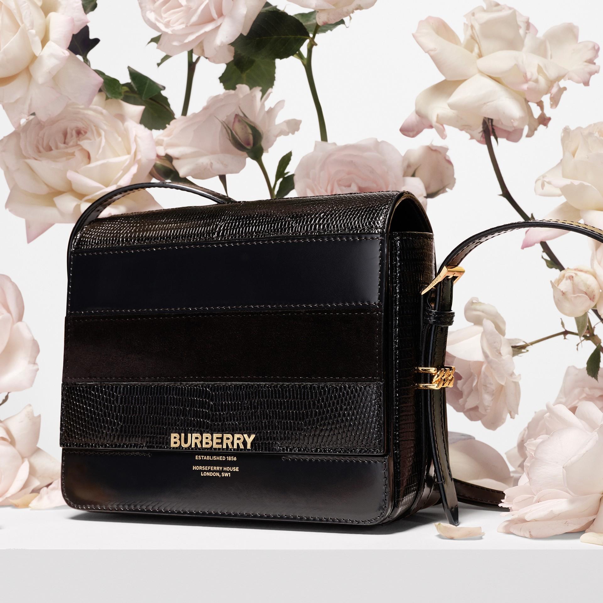 Petit sac Grace en cuir de cerf et cuir velours (Noir) - Femme | Burberry - photo de la galerie 1