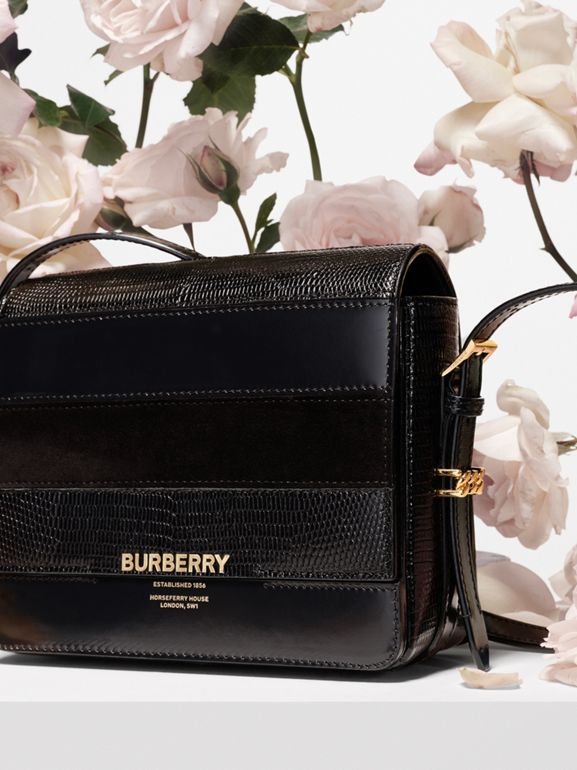 Small Panelled Deerskin and Suede Grace Bag in Black - Women | Burberry - cell image 1