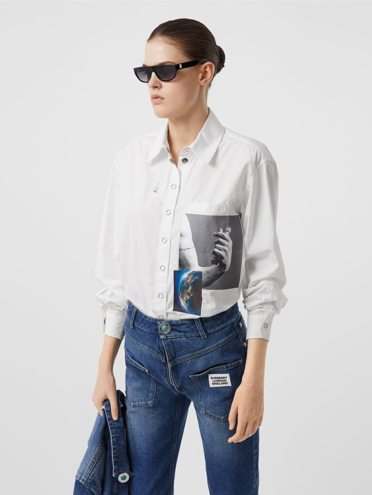 Press-stud Montage Print Cotton Shirt in White