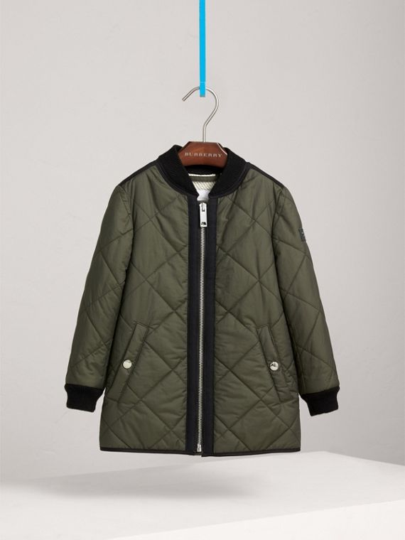 Quilted Cotton Blend Coat in Olive - Girl | Burberry - cell image 2