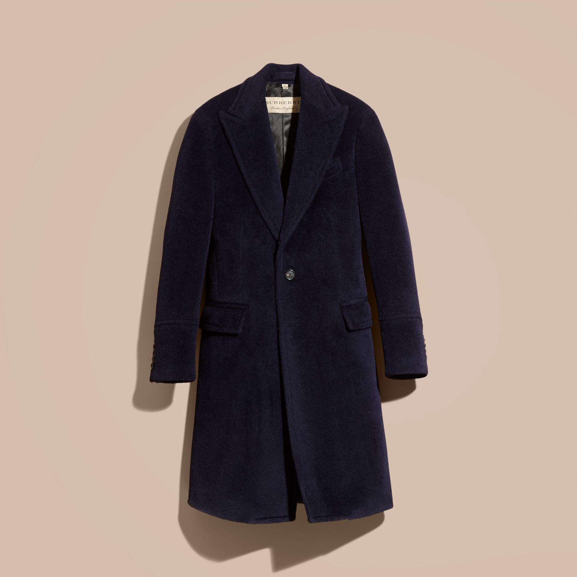 Navy black Alpaca Wool Overcoat - gallery image 4