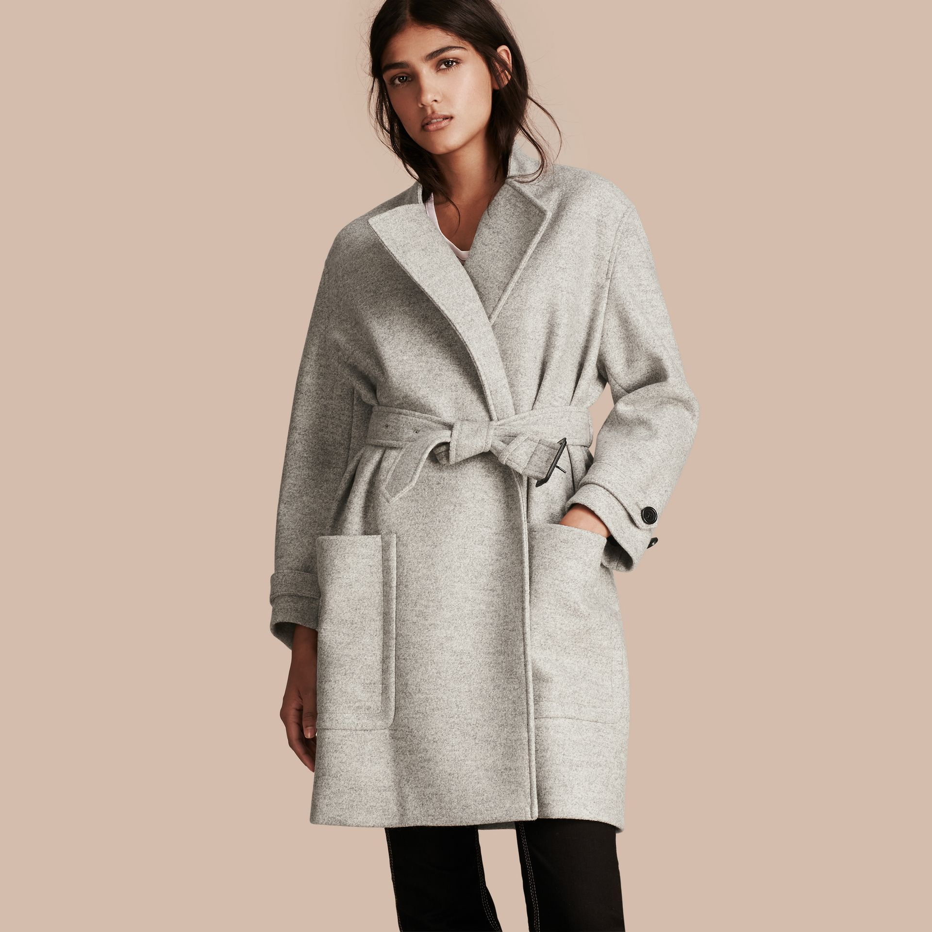 Pale grey melange Wool Belted Wrap Coat - gallery image 1