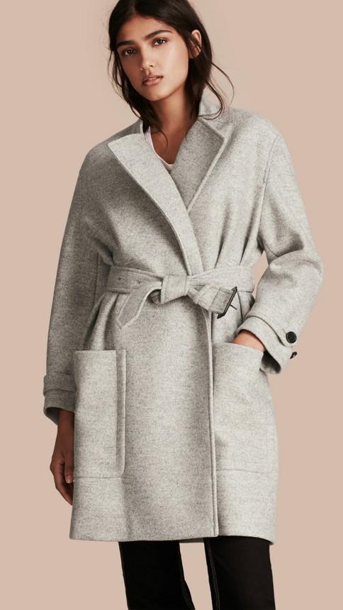 Pale grey melange Wool Belted Wrap Coat - Image 1