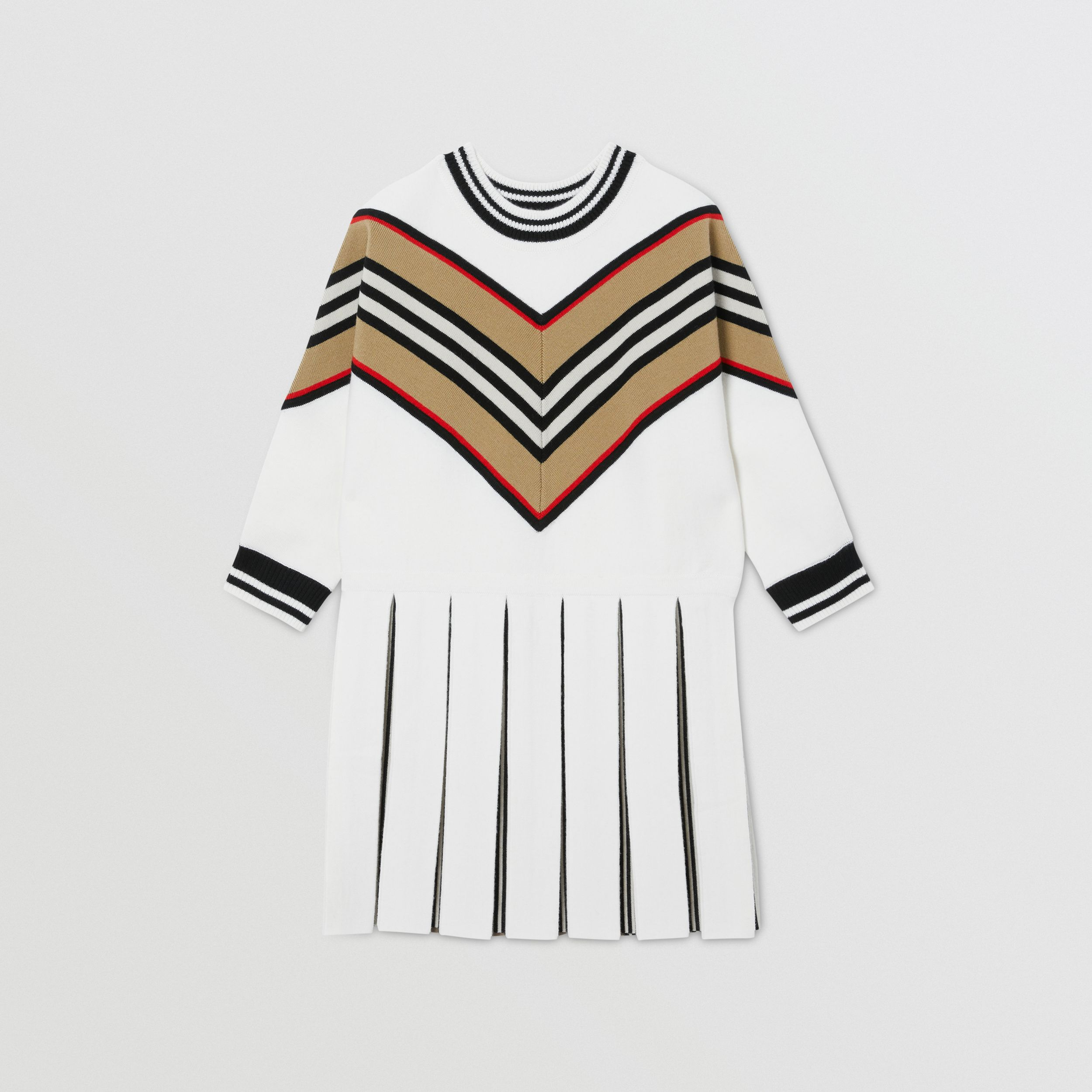 Long-sleeve Icon Stripe Panel Wool Blend Dress | Burberry - 1