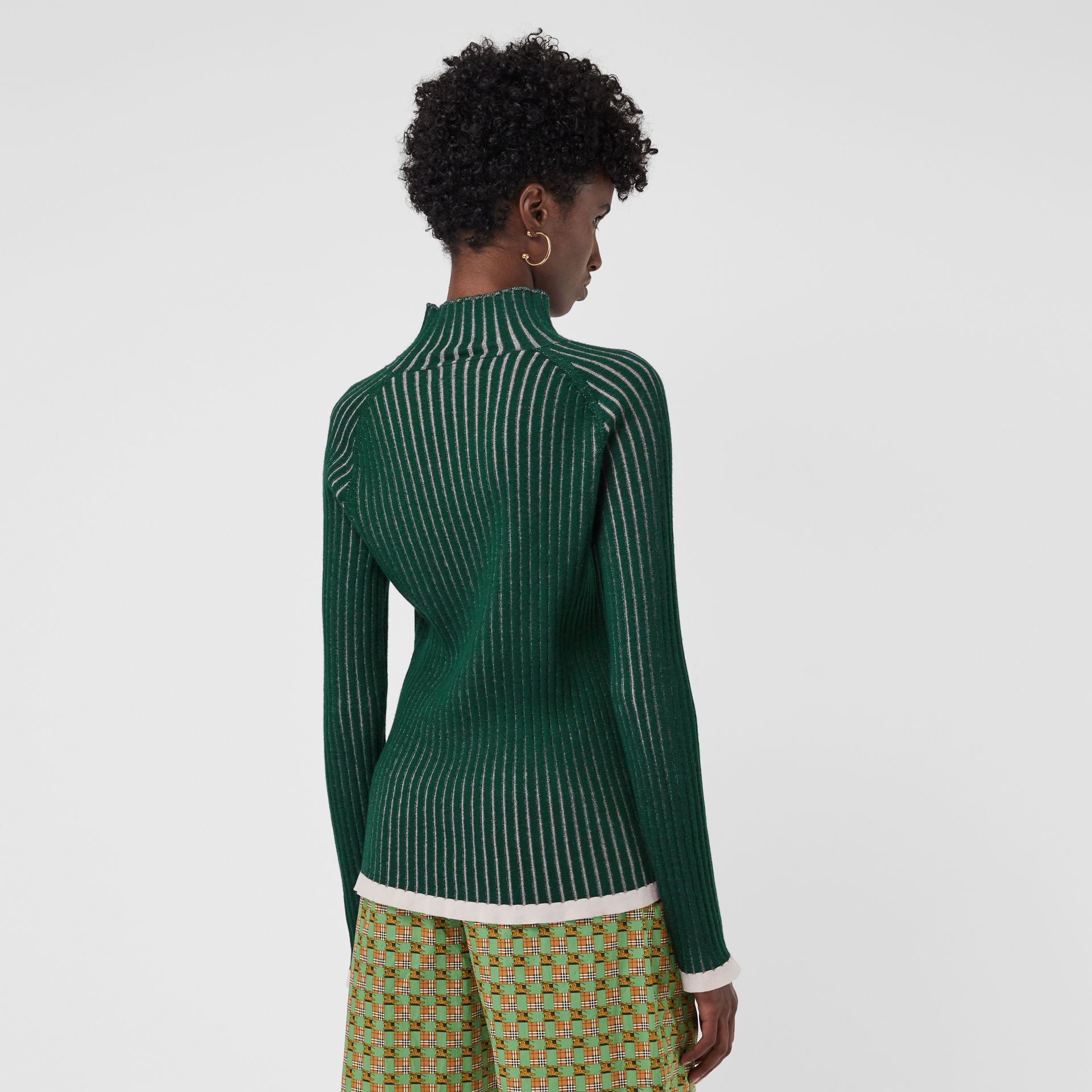 Silk Cashmere Turtleneck Sweater in Dark Forest Green - Women | Burberry United Kingdom - gallery image 2