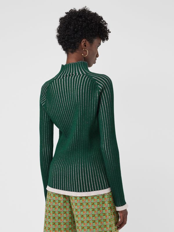 Silk Cashmere Turtleneck Sweater in Dark Forest Green - Women | Burberry United States - cell image 2