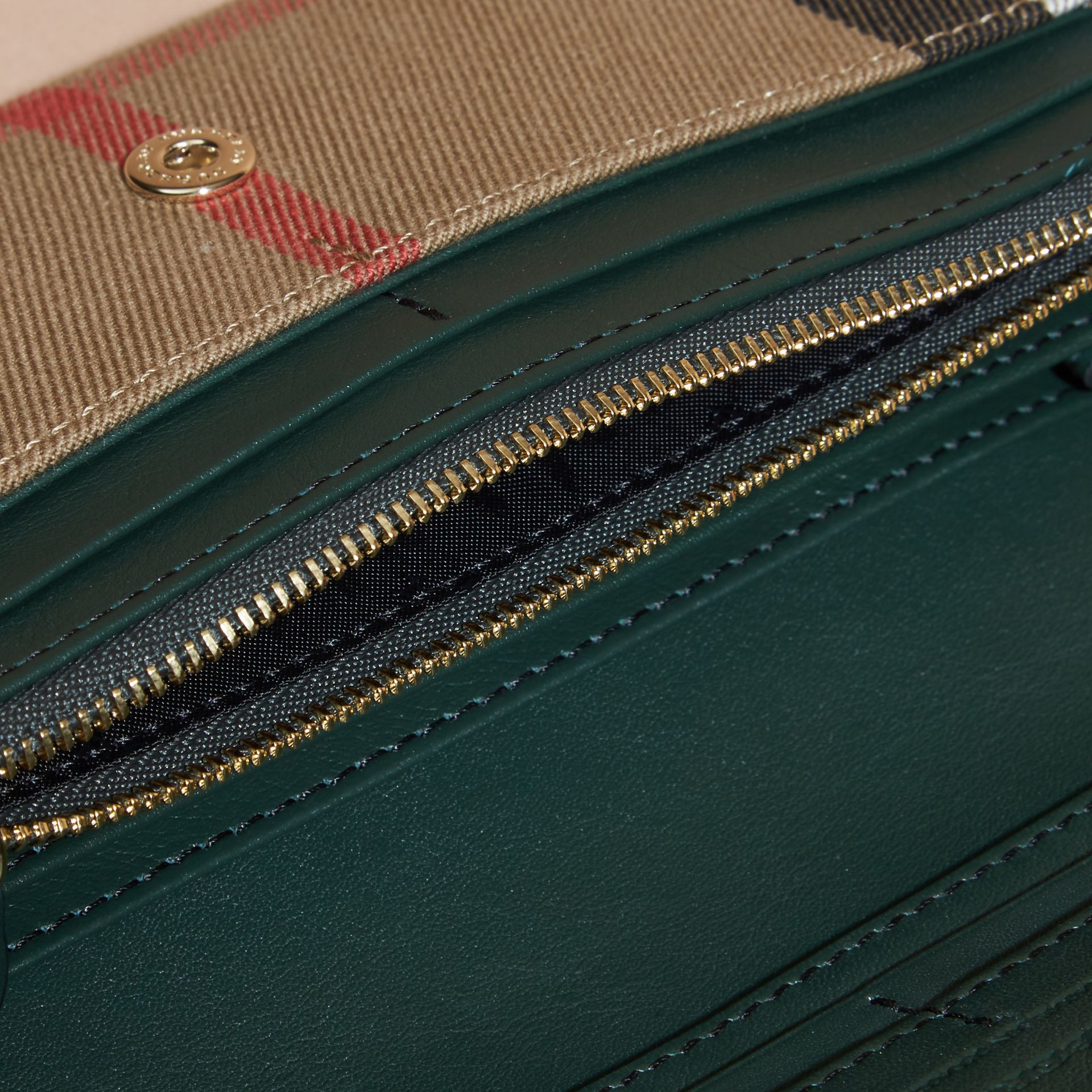 House Check And Leather Continental Wallet in Dark Bottle Green - gallery image 5