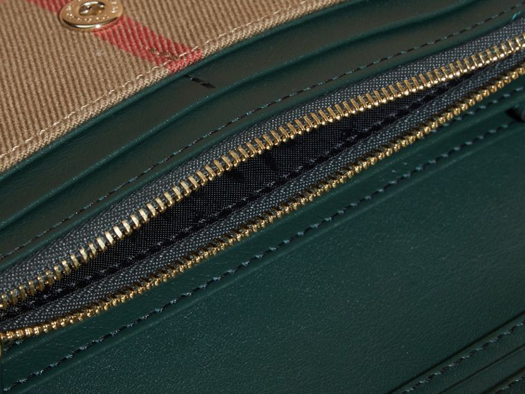House Check And Leather Continental Wallet Dark Bottle Green - cell image 4