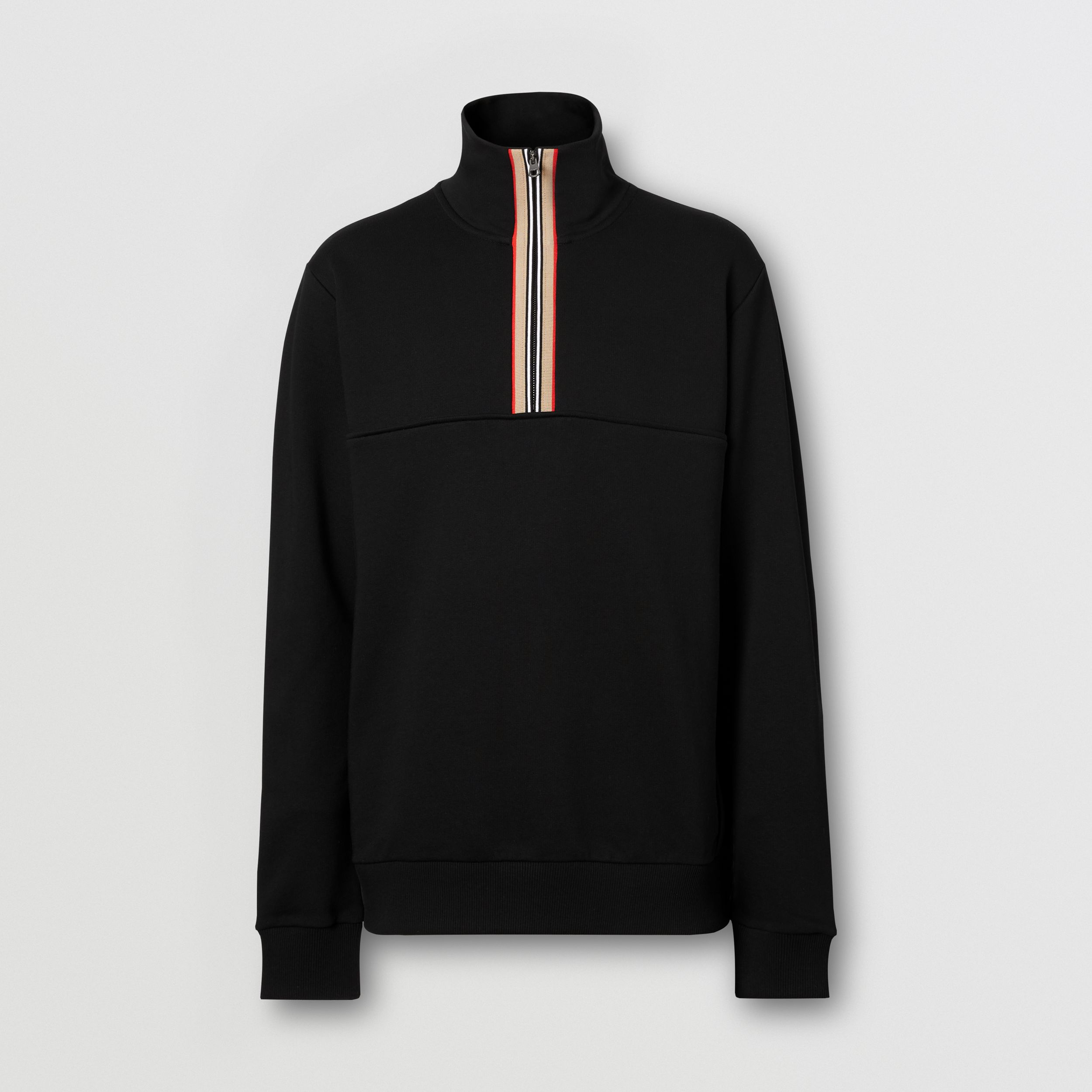 Icon Stripe Detail Cotton Funnel Neck Top in Black - Men | Burberry - 4
