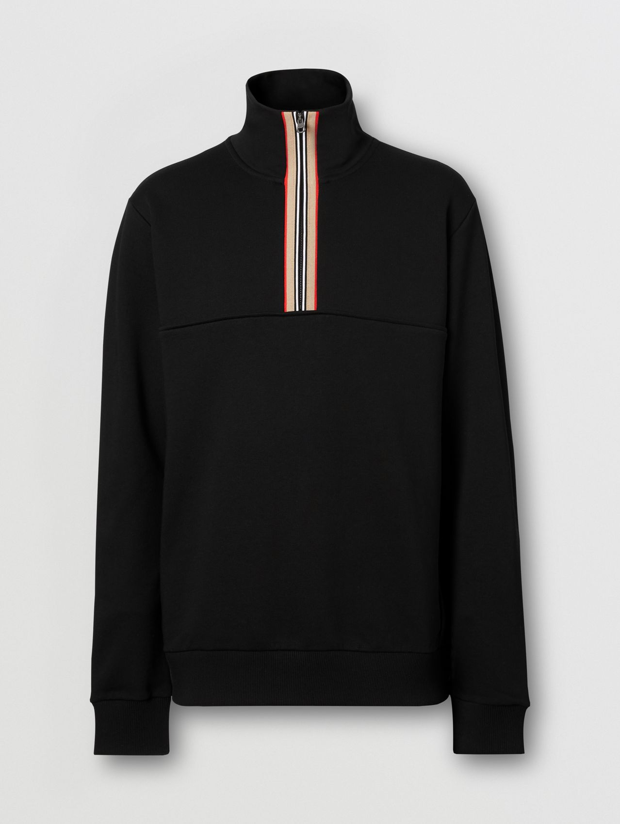 Icon Stripe Detail Organic Cotton Funnel Neck Top in Black