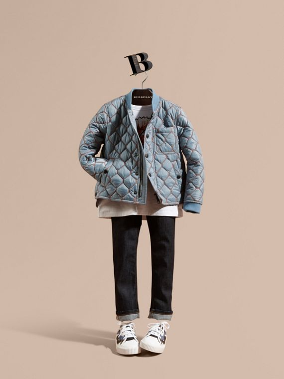 Contrast Topstitch Detail Quilted Jacket in Slate Blue | Burberry