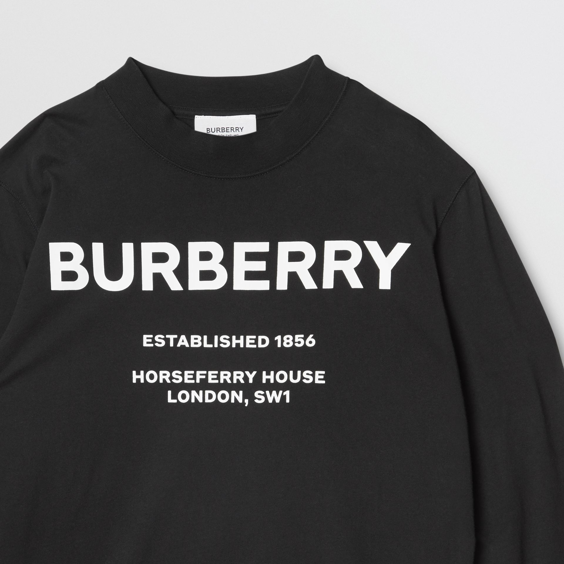 Long-sleeve Horseferry Print Cotton Top in Black | Burberry - gallery image 5