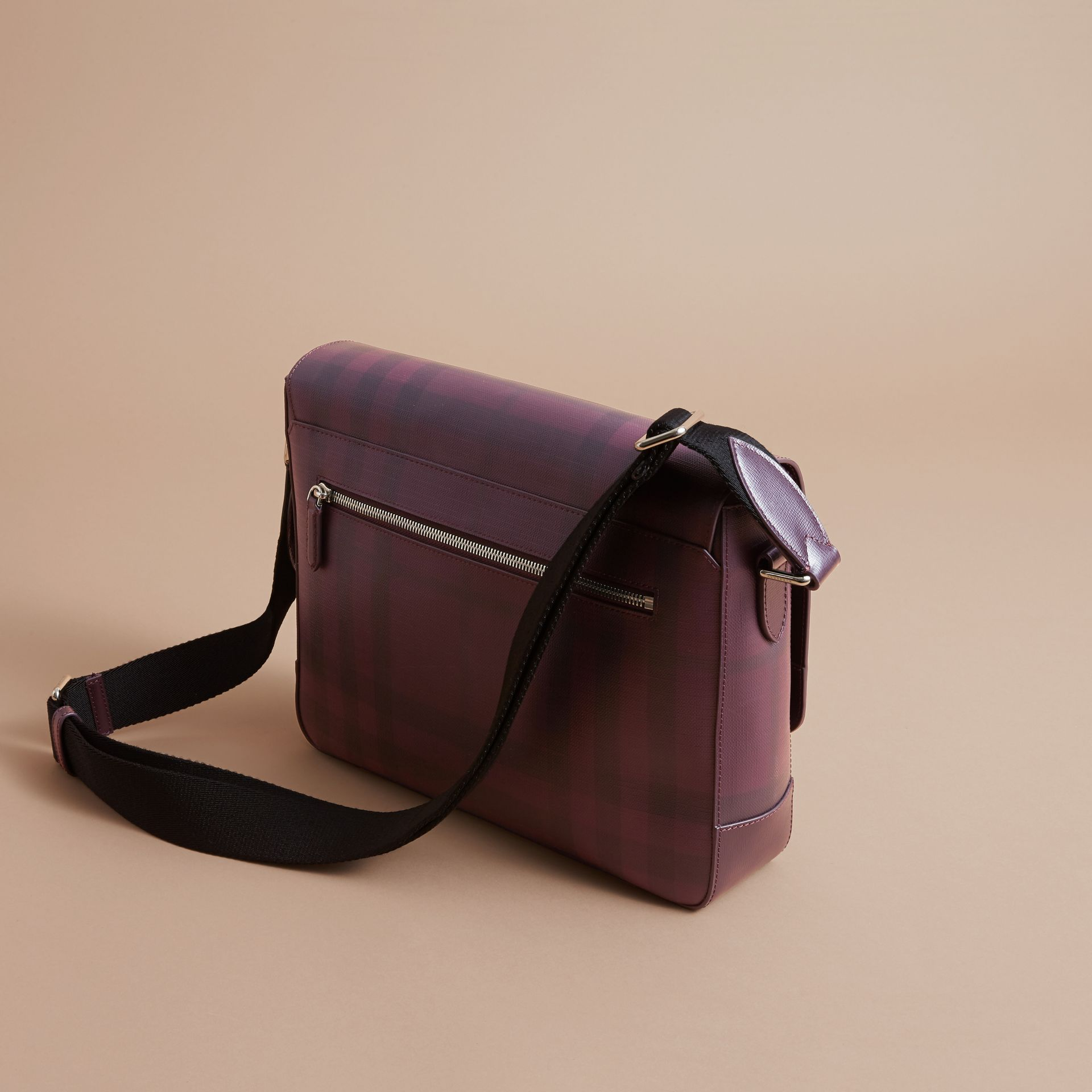 Medium Leather Trim London Check Messenger Bag in Deep Claret - Men | Burberry - gallery image 4