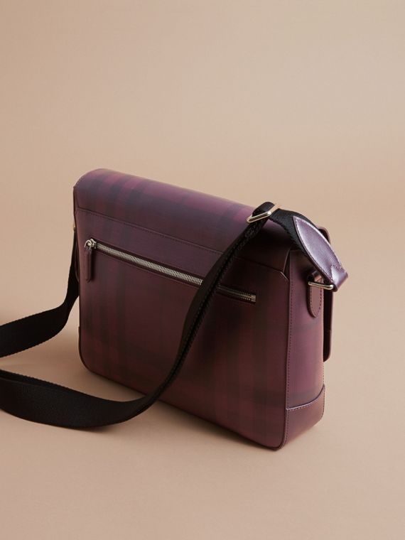 Medium Leather Trim London Check Messenger Bag in Deep Claret - Men | Burberry - cell image 3