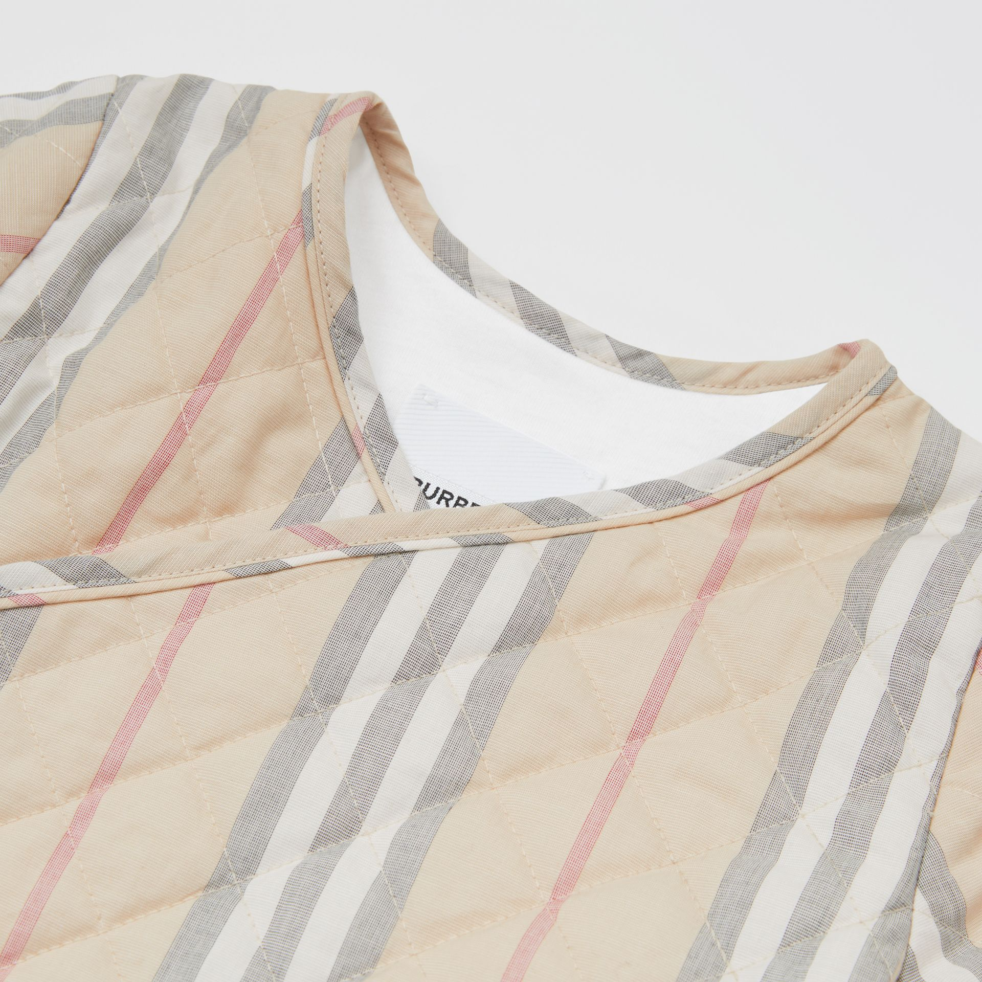 Quilted Icon Stripe Cotton Wrap Jacket in Pale Stone - Children | Burberry - gallery image 1