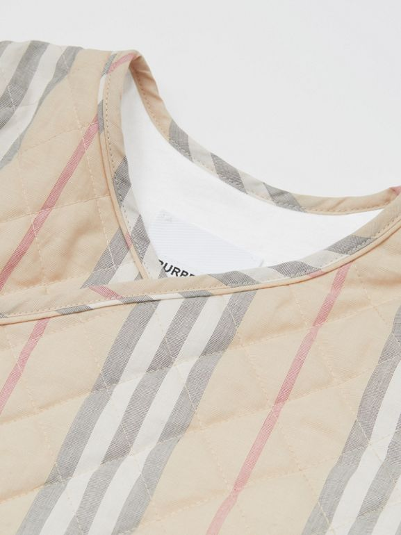 Chaqueta cruzada en algodón acolchado a rayas Icon Stripe (Piedra Pálido) - Niños | Burberry - cell image 1