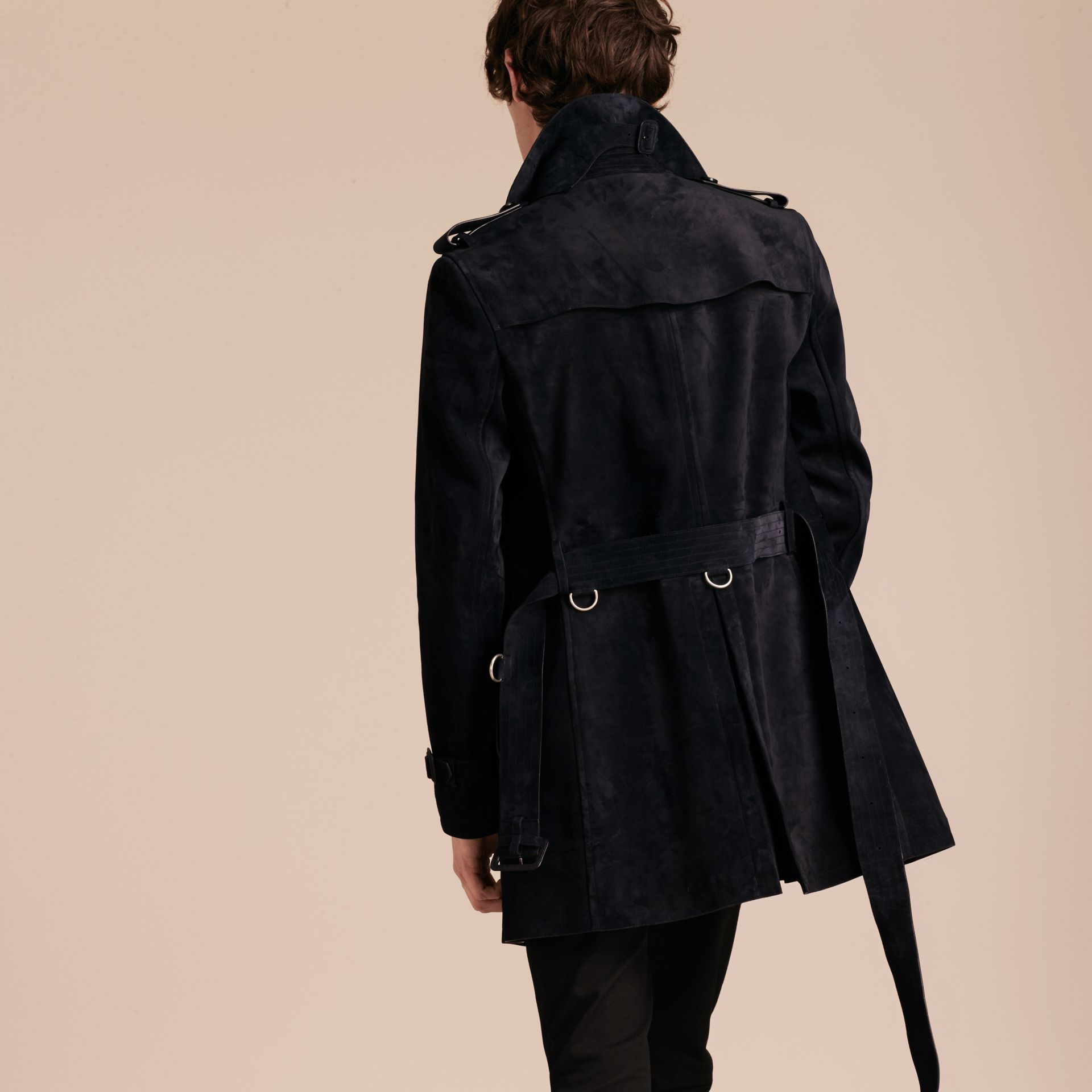 Navy Suede Trench Coat - gallery image 3