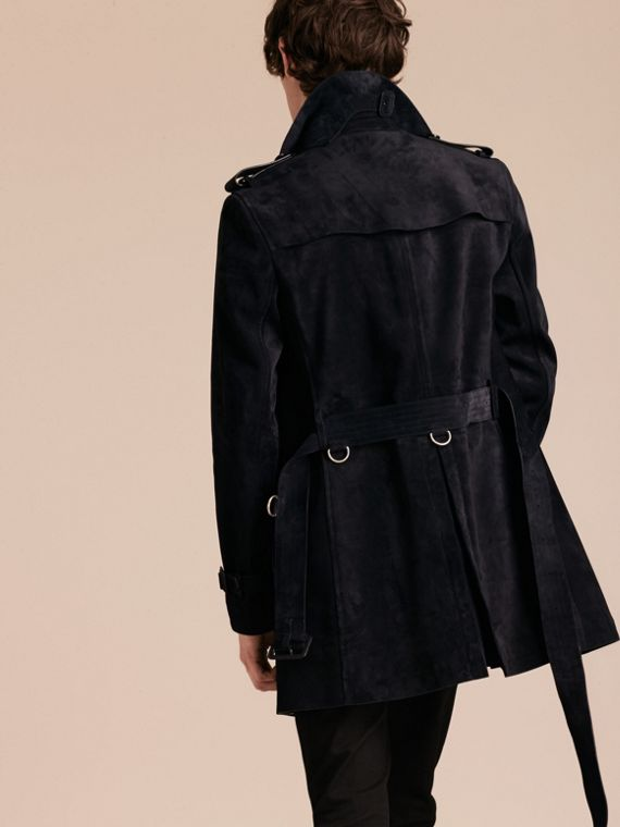 Navy Suede Trench Coat - cell image 2