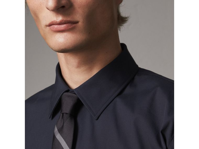 Modern Fit Stretch Cotton Shirt in Navy - Men | Burberry - cell image 1