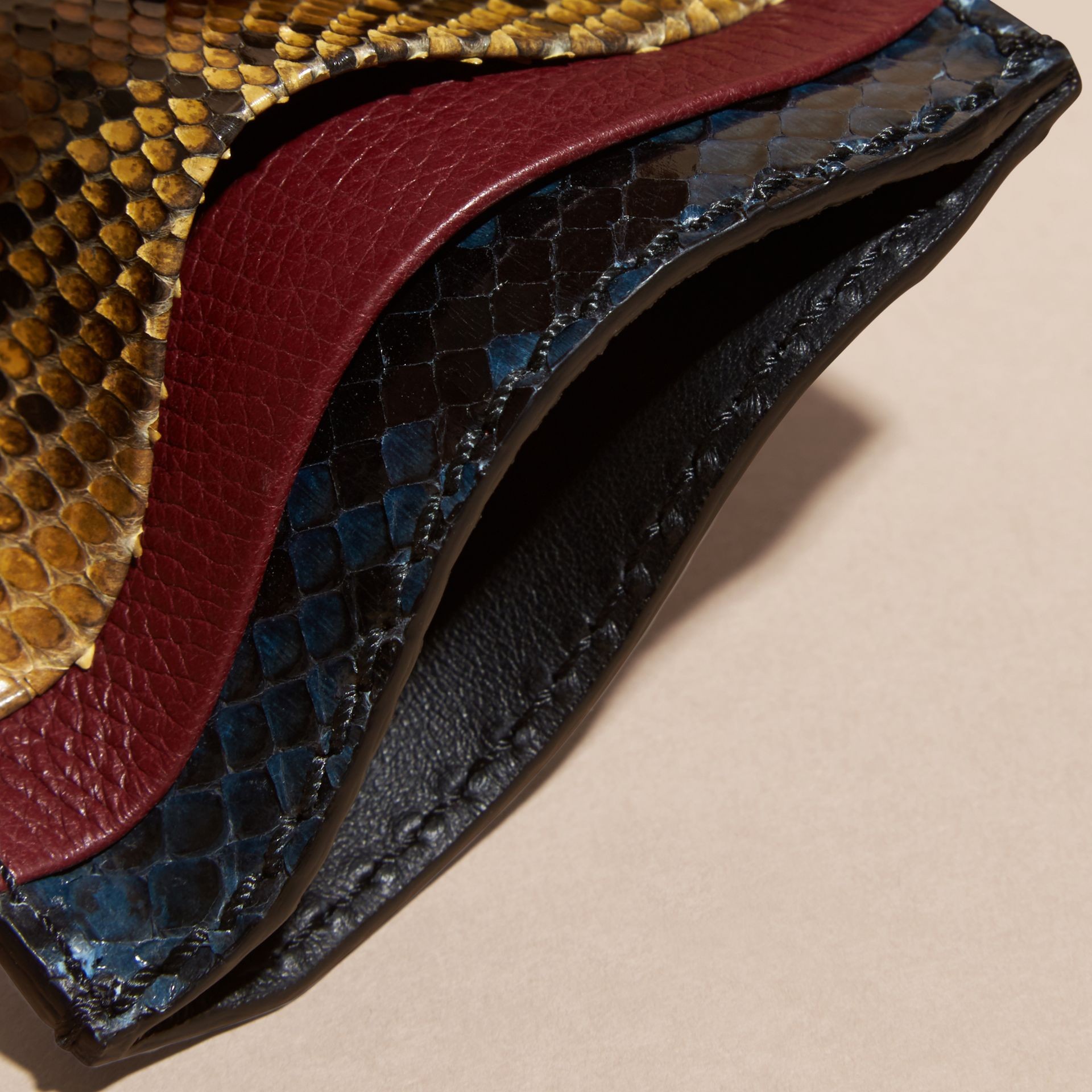 Elderberry Colour Block Snakeskin and Leather Card Case Elderberry - gallery image 5