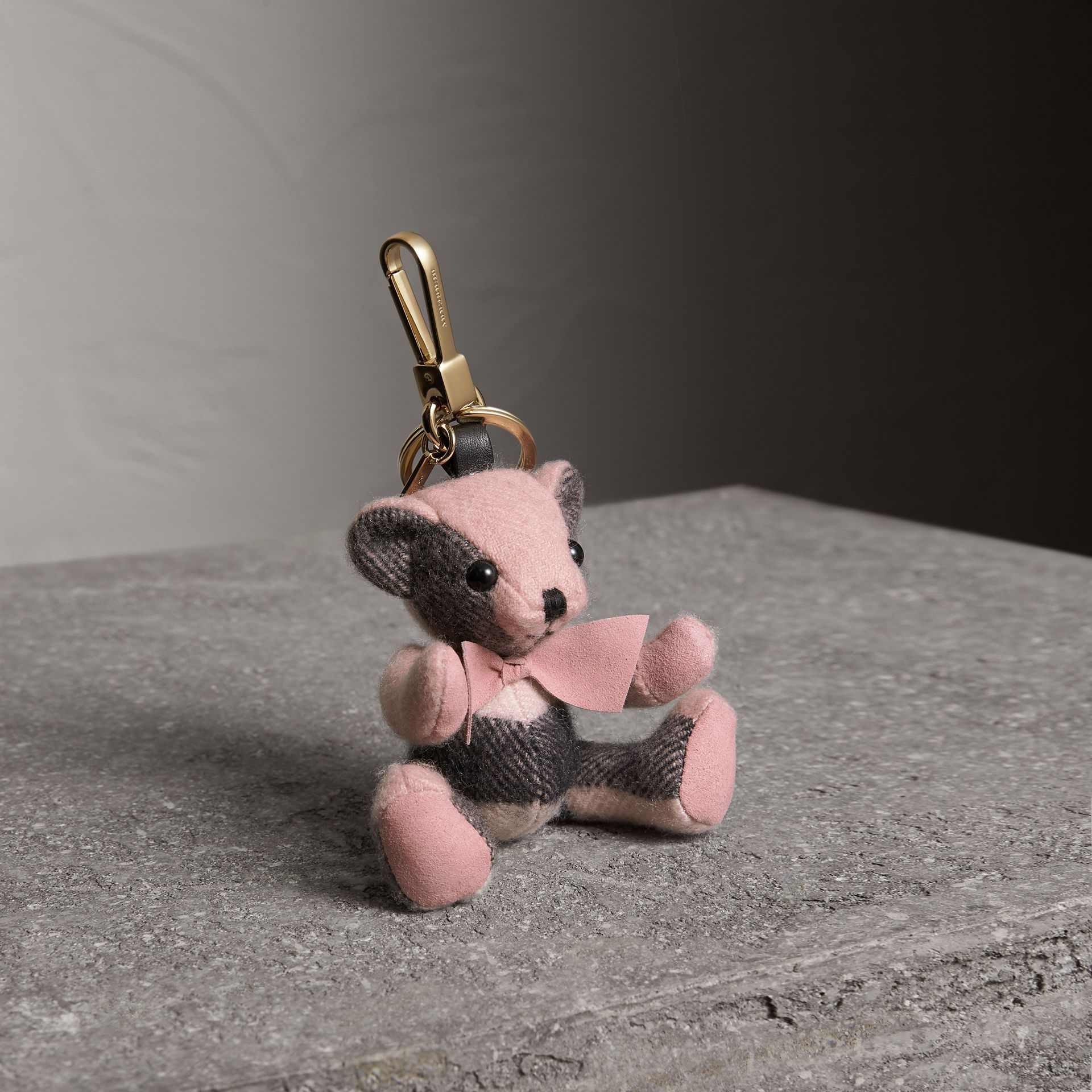 Thomas Bear Charm in Check Cashmere in Ash Rose | Burberry - gallery image 0