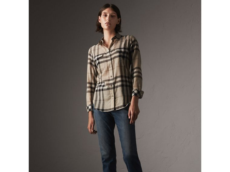 Check Cotton Shirt in Chino - Women | Burberry - cell image 4