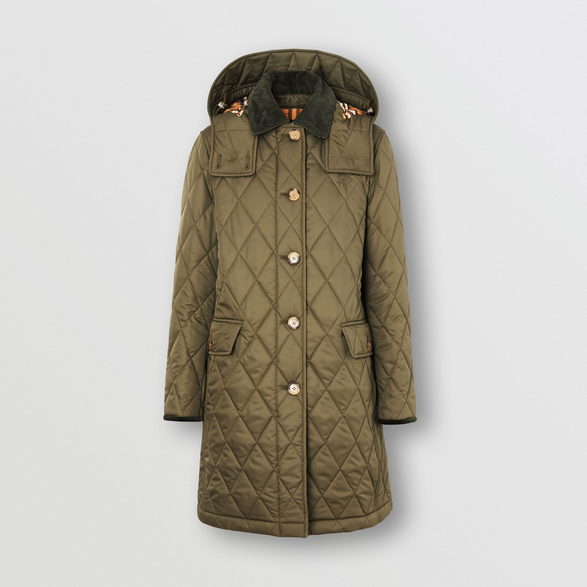 Detachable Hood Monogram Motif Quilted Coat in Olive Green - Women | Burberry - gallery image 3
