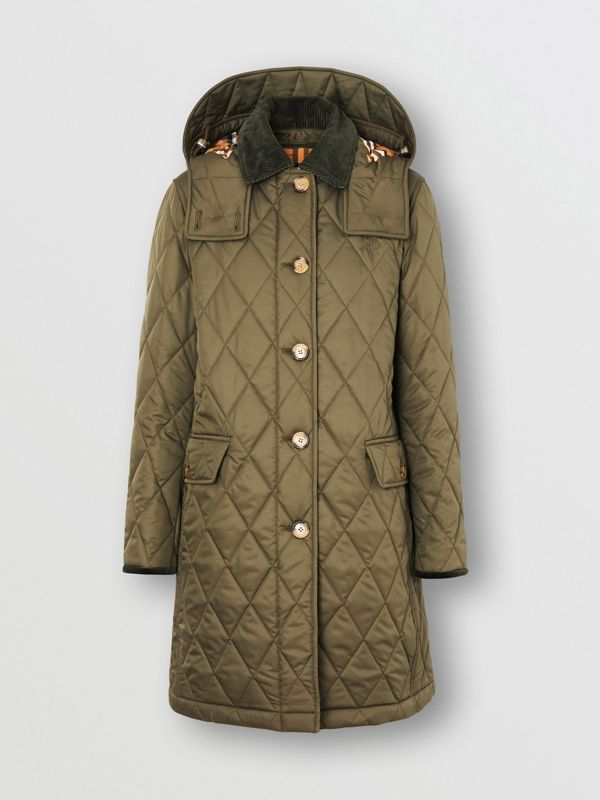 Detachable Hood Monogram Motif Quilted Coat in Olive Green - Women | Burberry - cell image 3