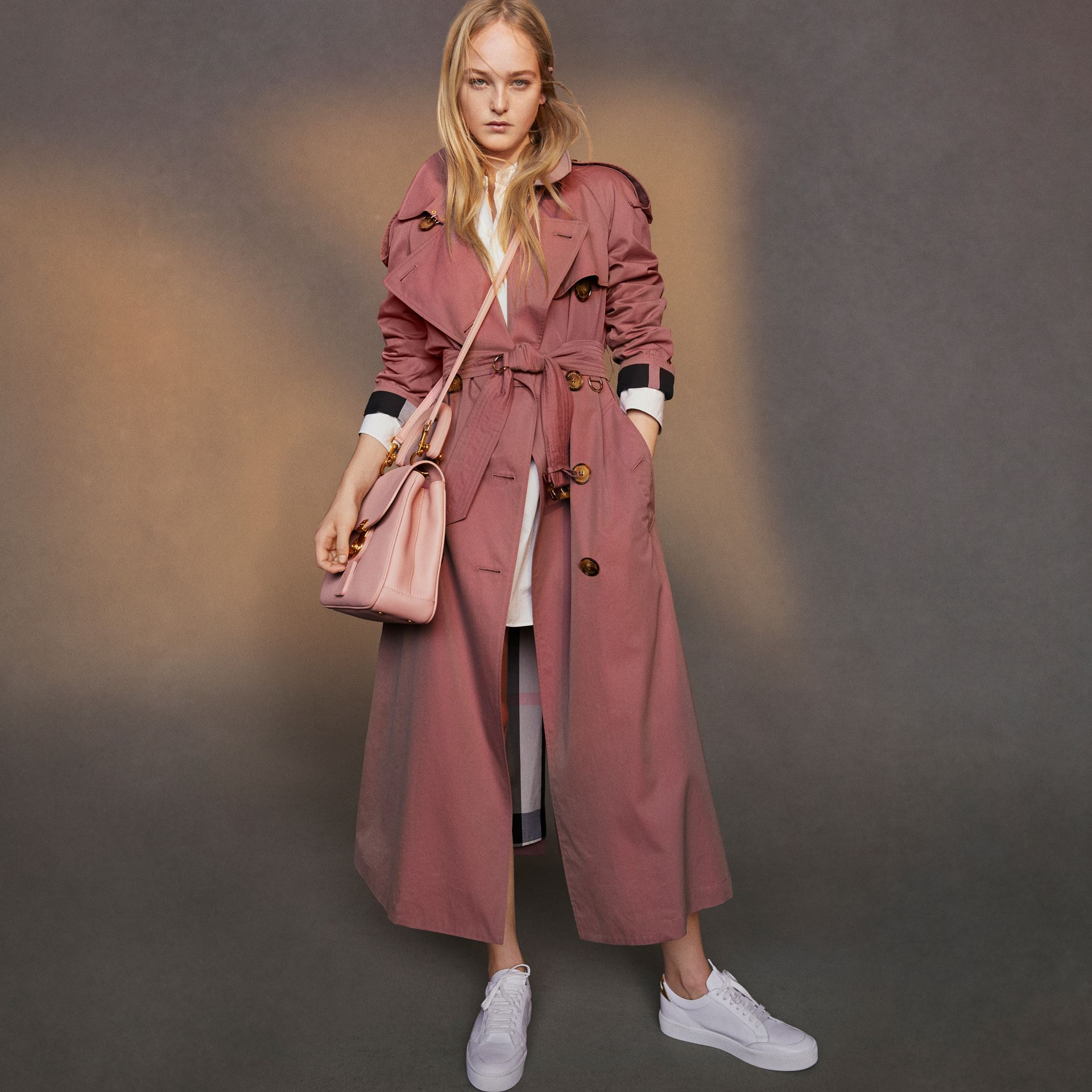 Tropical Gabardine Trench Coat in Antique Rose - Women | Burberry - gallery image 9