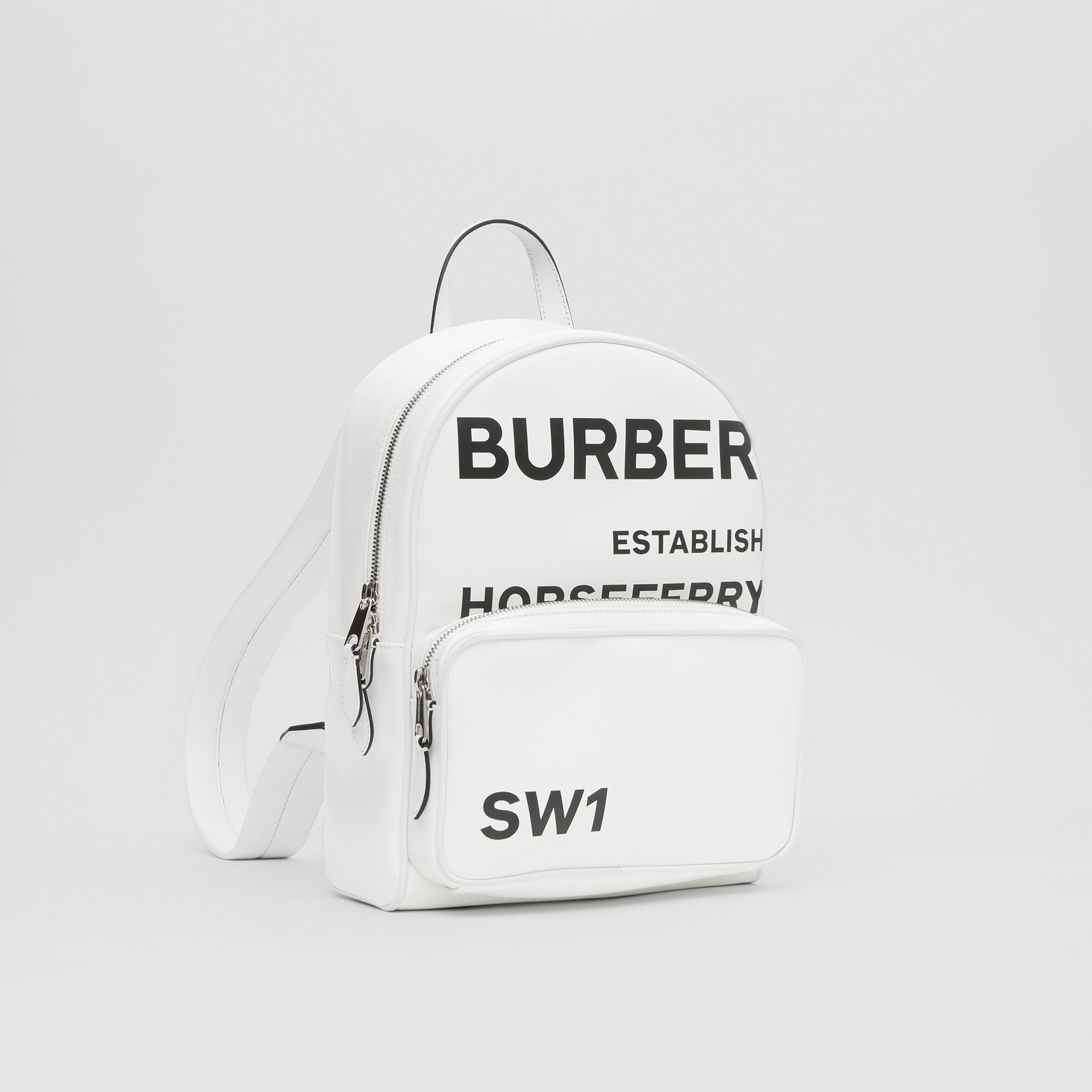 Horseferry Print Coated Canvas Backpack in White | Burberry - gallery image 8