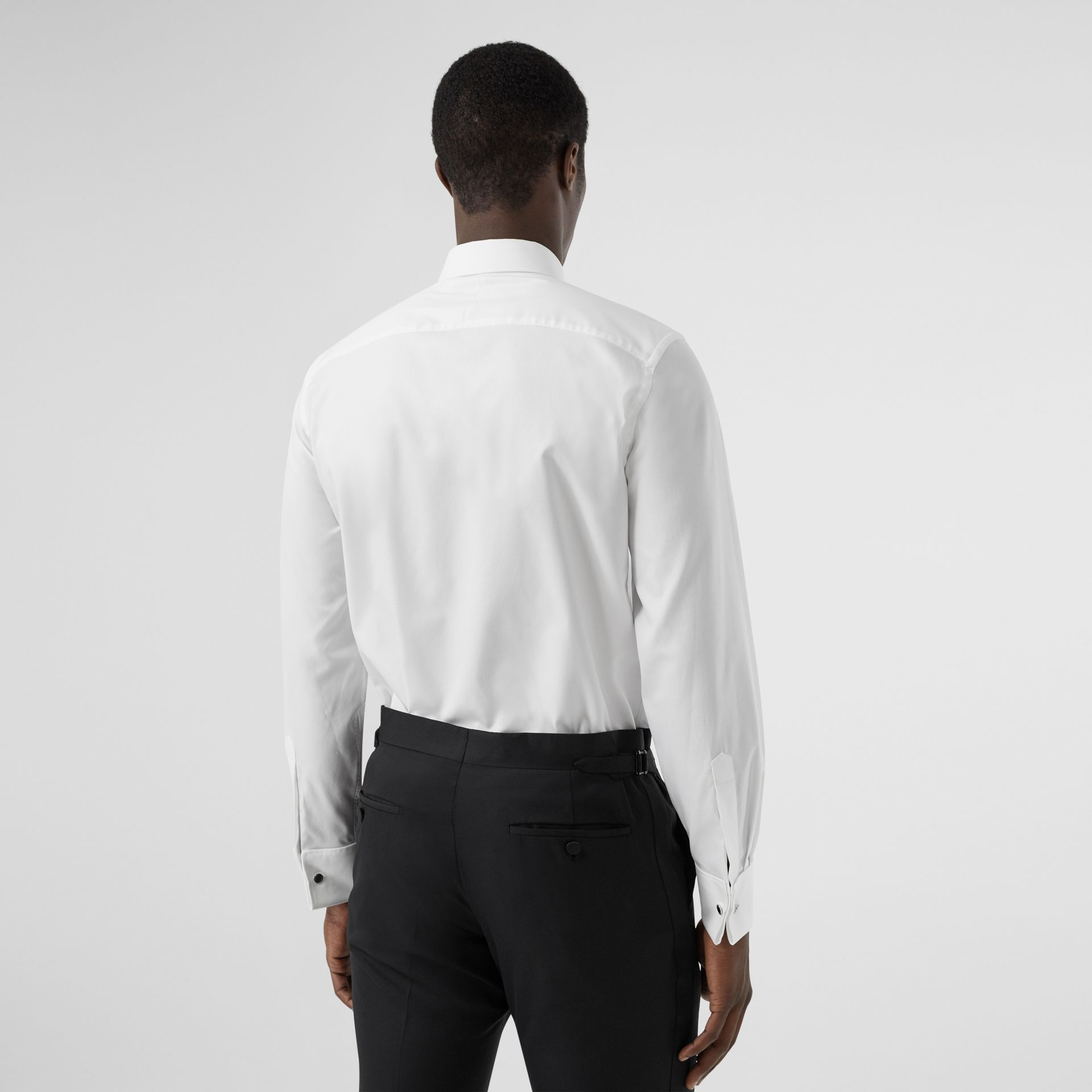 Ribbed Bib Cotton Oxford Dress Shirt in White - Men | Burberry - gallery image 2