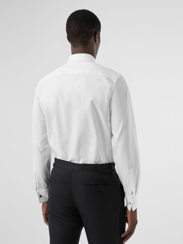 Ribbed Bib Cotton Oxford Dress Shirt in White - Men | Burberry - cell image 2