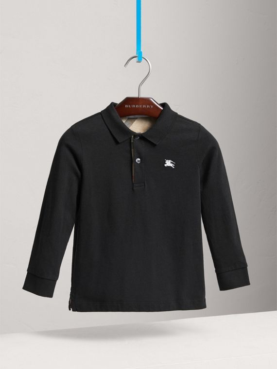 Long-sleeve Cotton Jersey Polo Shirt in Black - Boy | Burberry Singapore - cell image 2
