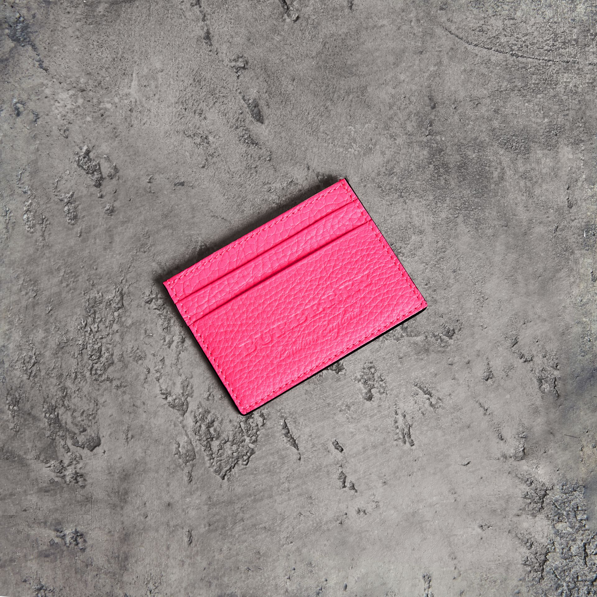 Embossed Textured Leather Card Case in Neon Pink | Burberry - gallery image 0