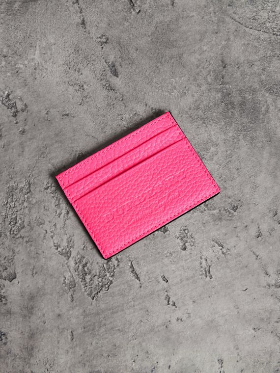 Embossed Textured Leather Card Case in Neon Pink