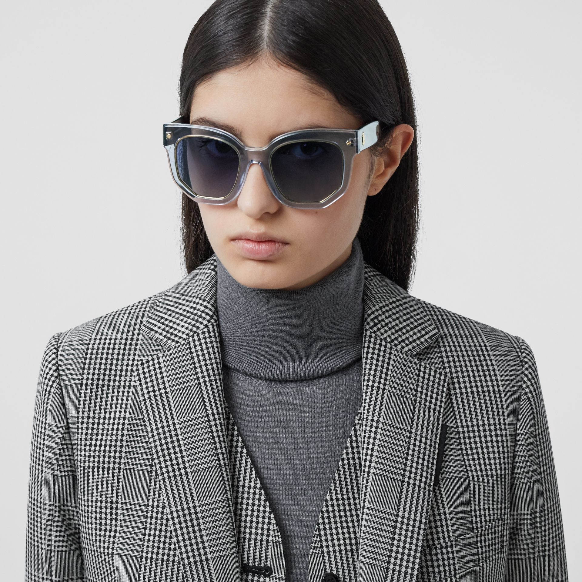 Geometric Frame Sunglasses in Grey - Women | Burberry - gallery image 2