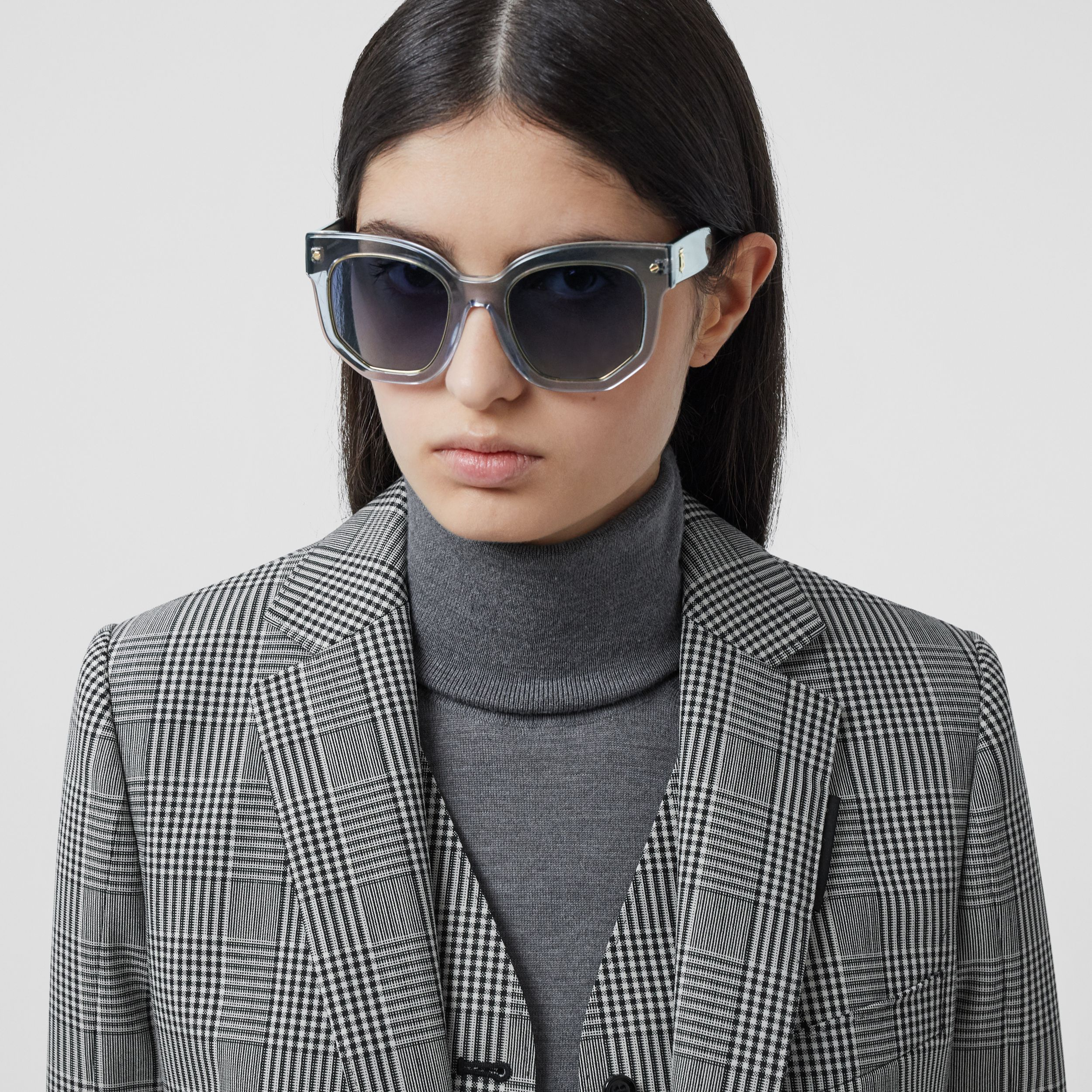 Geometric Frame Sunglasses in Grey - Women | Burberry - 3