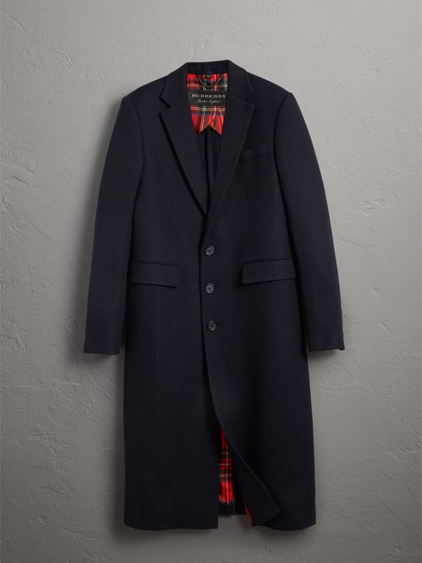 Tartan-lined Cashmere Twill Topcoat in Navy - Men | Burberry - cell image 3
