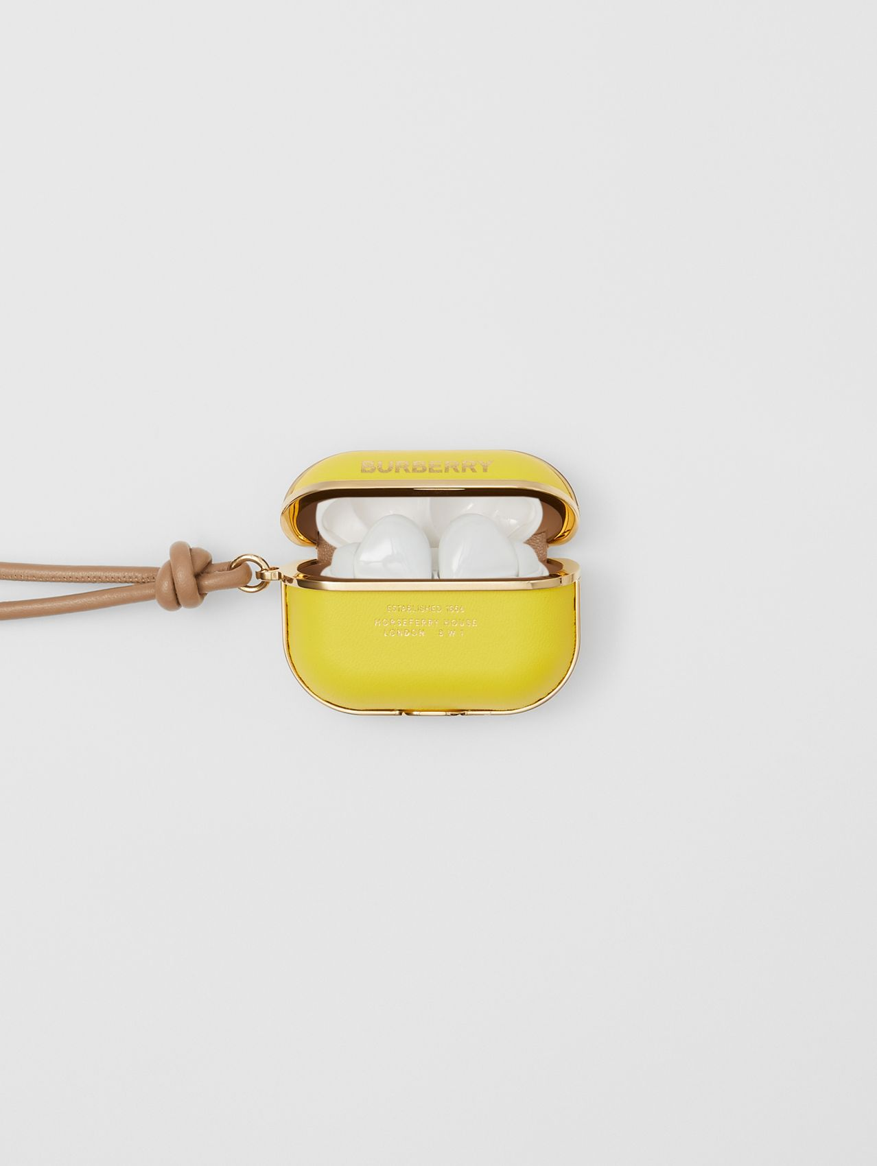 Horseferry Print Lambskin AirPods Pro Case in Marigold Yellow