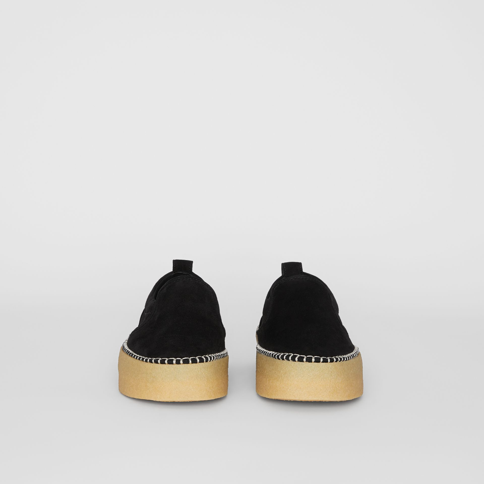 Suede Slip-on Sneakers in Black - Men | Burberry - gallery image 3