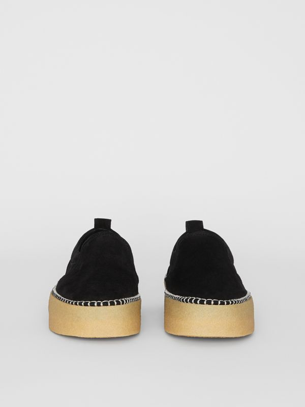 Suede Slip-on Sneakers in Black - Men | Burberry United Kingdom - cell image 3